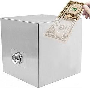 Password Stainless Steel Piggy Bank Money Safe Box Digital Cash Coin Jar for Kids Reuse Strong Huge Adult Tip Box 7.9inch