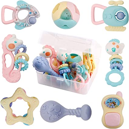 Grab Infant Chewing Toys Girls Boys iPlay 9 6 Newborn Babies Sound Musical Sensory Gift for 0 Silicone Teething Set Shaker iLearn 8pcs Baby Rattles and Teethers 12 Months Old 3 Spin