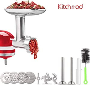 Kitchood Meat Grinder Attachments for KitchenAid Stand Mixers, Accessories Include 2 Sausage Stuffer Tubes, Durable Metal Food Grinder Attachment Compatible with All KitchenAid Home Use Silver