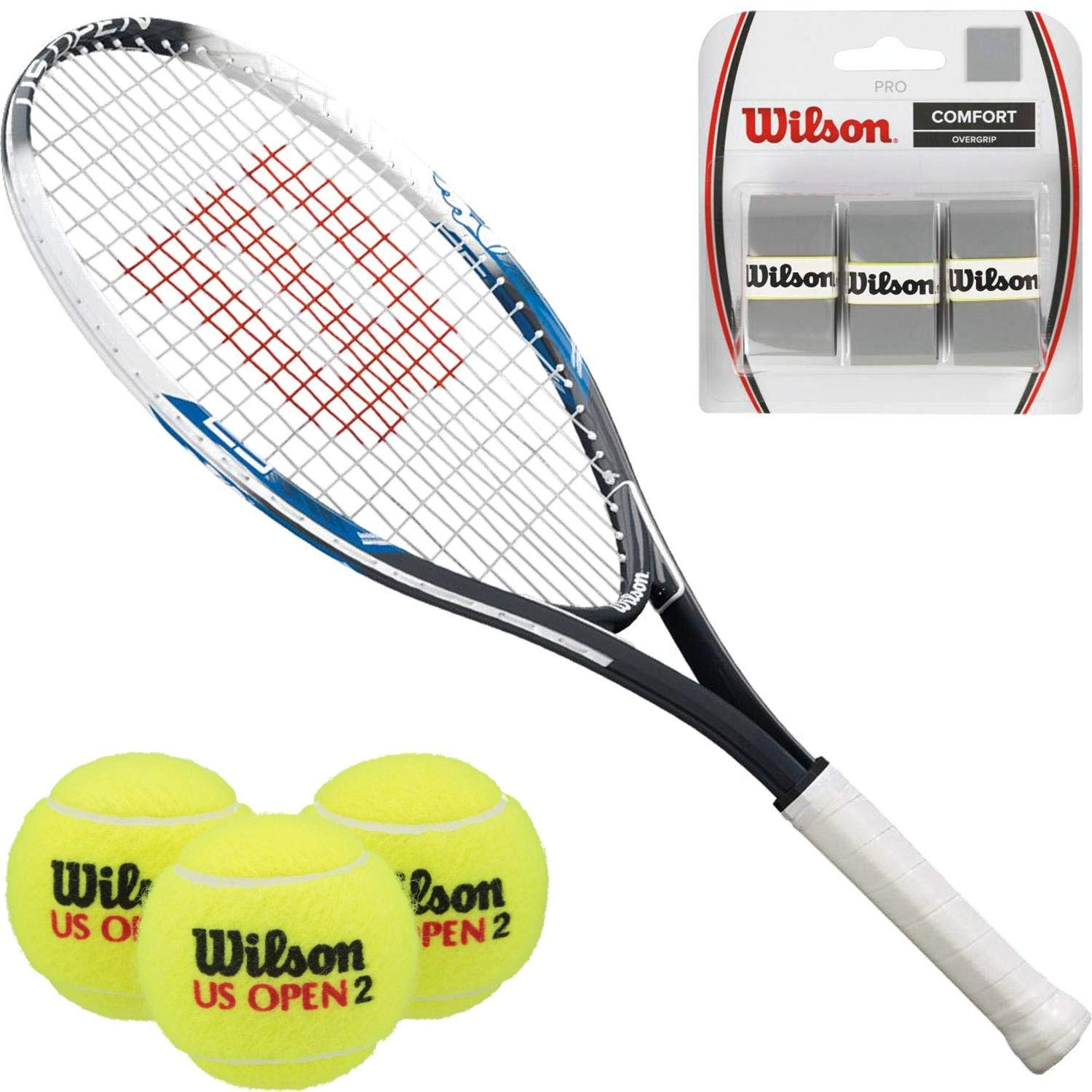 Wilson U.S. Open 25 Inch Junior Tennis Racquet Starter Kit or Set Bundled with a Can of U.S. Open All-Court Balls and a 3-Pack of Black Overgrips