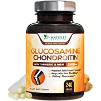 Glucosamine with Chondroitin Turmeric MSM Supplement, Triple Strength Standardized 1500mg with Boswellia & Bromelain - Made in USA - for Healthy Joint Support & Comfort - 240 Capsules