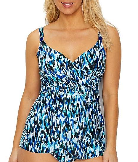 269793f90d Miraclesuit Women's Swimwear Caspiana Surplice D-DDD Cup Sized Underwire  Bra Tummy Control Tankini Swimsuit Top, Blue Multi, 36DD: Miraclesuit: ...