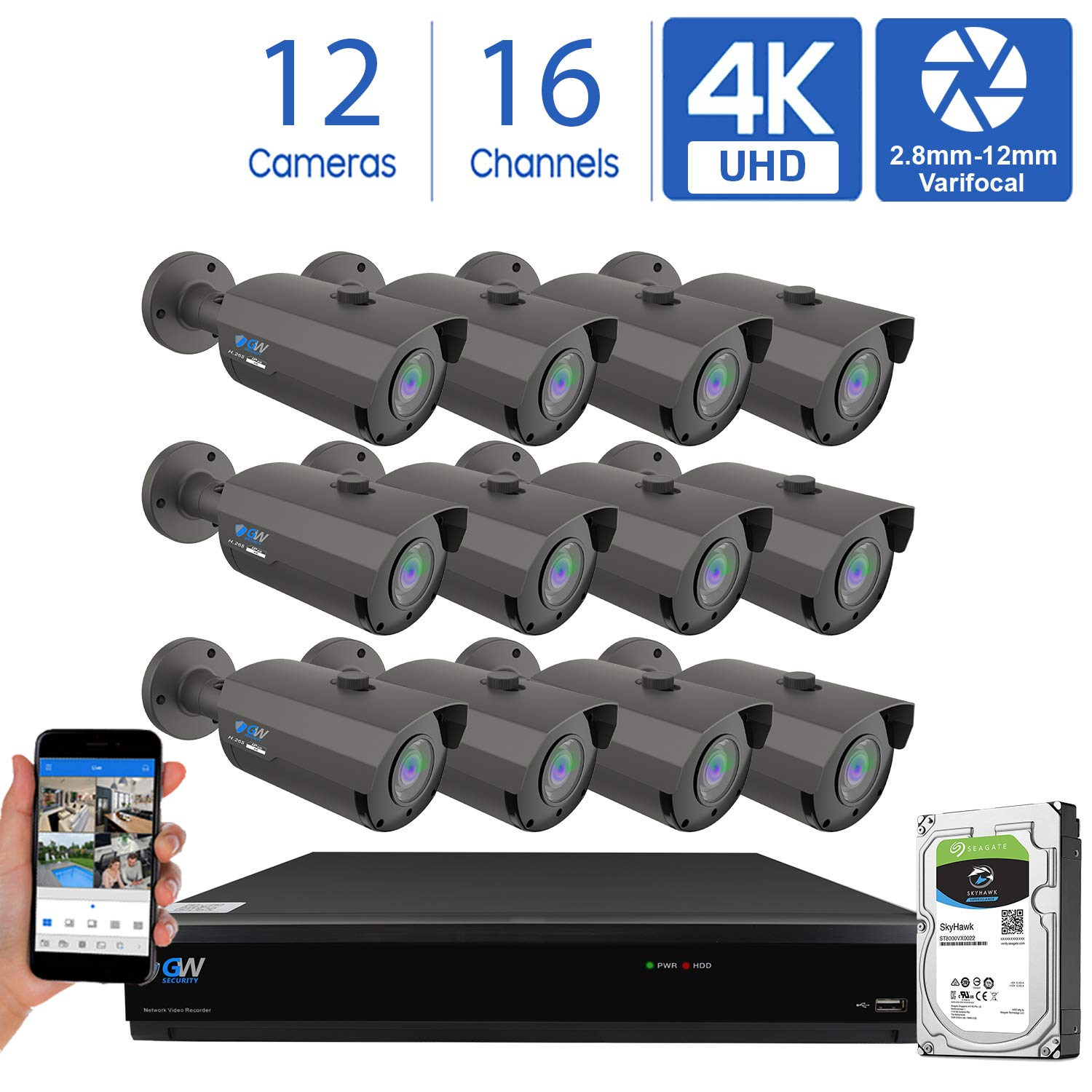 GW 16 Channel 4K H.265 CCTV DVR Security Camera System with 12 x UHD 8MP 2.8-12mm Varifocal Zoom 4K Bullet Surveillance Cameras and 4TB HDD, Free Remote View, Motion Alert with Snapshot