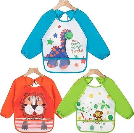 Oferta amazon: Haimoburg - Pack de 3 baberos con mangas resistentes al agua, protección contra la humedad, peto para bebés de 6a 36meses