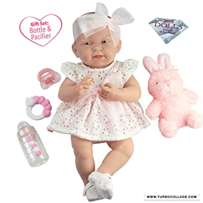 """JC Toys La Newborn All-Vinyl-Anatomically Correct Real Girl 15"""" Doll in White Eyelet Dress with Fluffy Bunny and Accessories Designed by Berenguer: Toys & Games"""