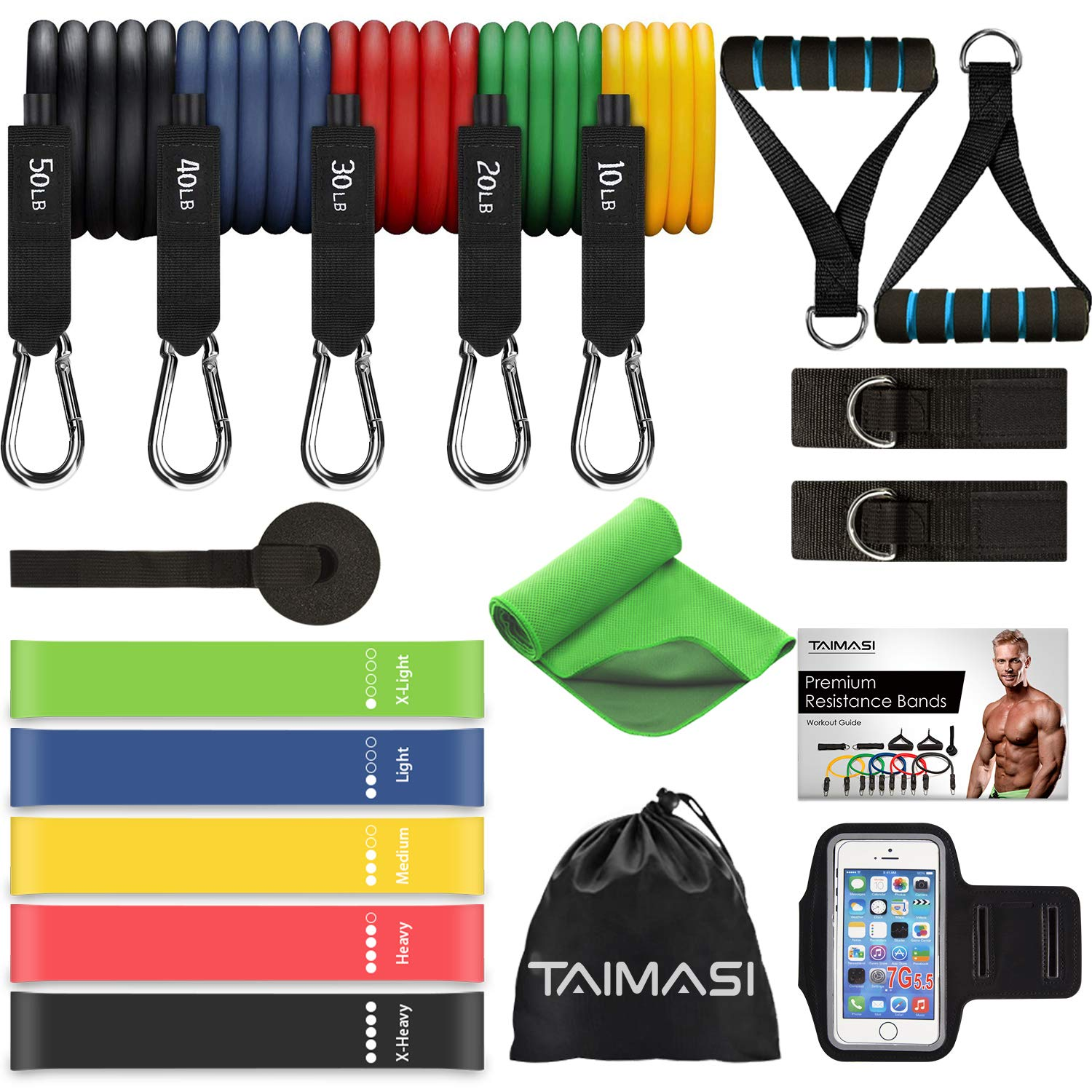 23PCS Resistance Bands Set Workout Bands, 5 Stackable Exercise Bands with Handles, 5 Resistance Loop Bands, Jump Rope…