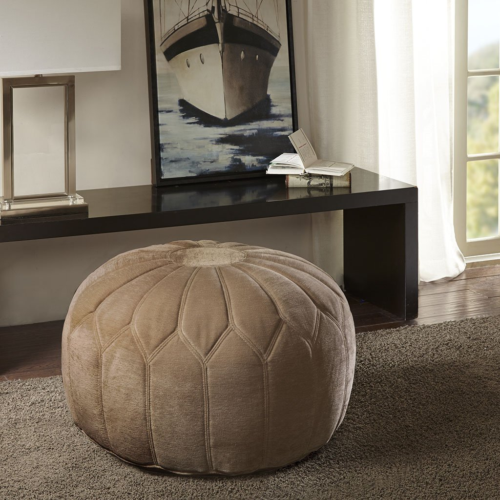 Kelsey Round Pouf Ottoman Sand See below