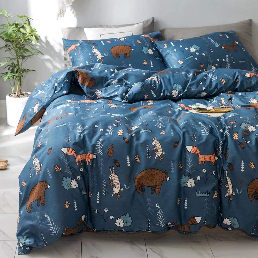 Jumeey Queen Cotton Duvet Cover Sets Navy Blue Duvet Cover Full Boys Teen Bear Fox Print Forest Bedding Sets for Kids 100% Cotton,Raccoon Rabbit Bear Print 3 Piece,NO Comforter