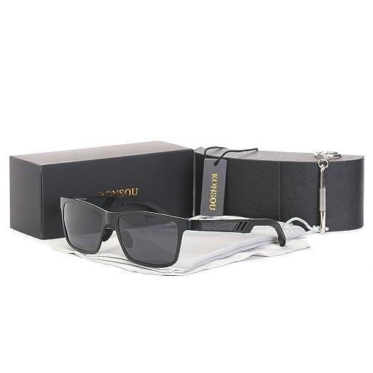 9ac231ad84 Ronsou Men UV400 Retro Rectangular Metal Polarized Sunglasses For Driving  Fishing Golf Outdoor black frame