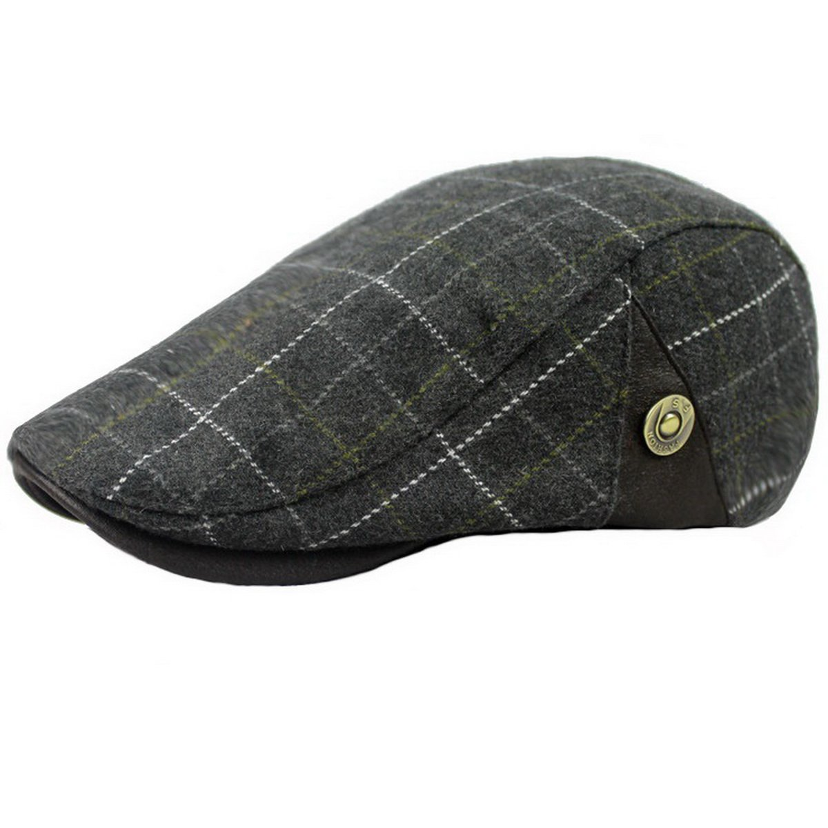 Ukerdo Mens Plaid Flat Berets Hat Newsboy Cabbie Duckbill Caps Cap-171