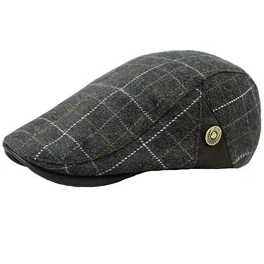 Ukerdo Mens Plaid Flat Berets Hat Newsboy Cabbie Duckbill Caps (A ... 3c3d1144a55