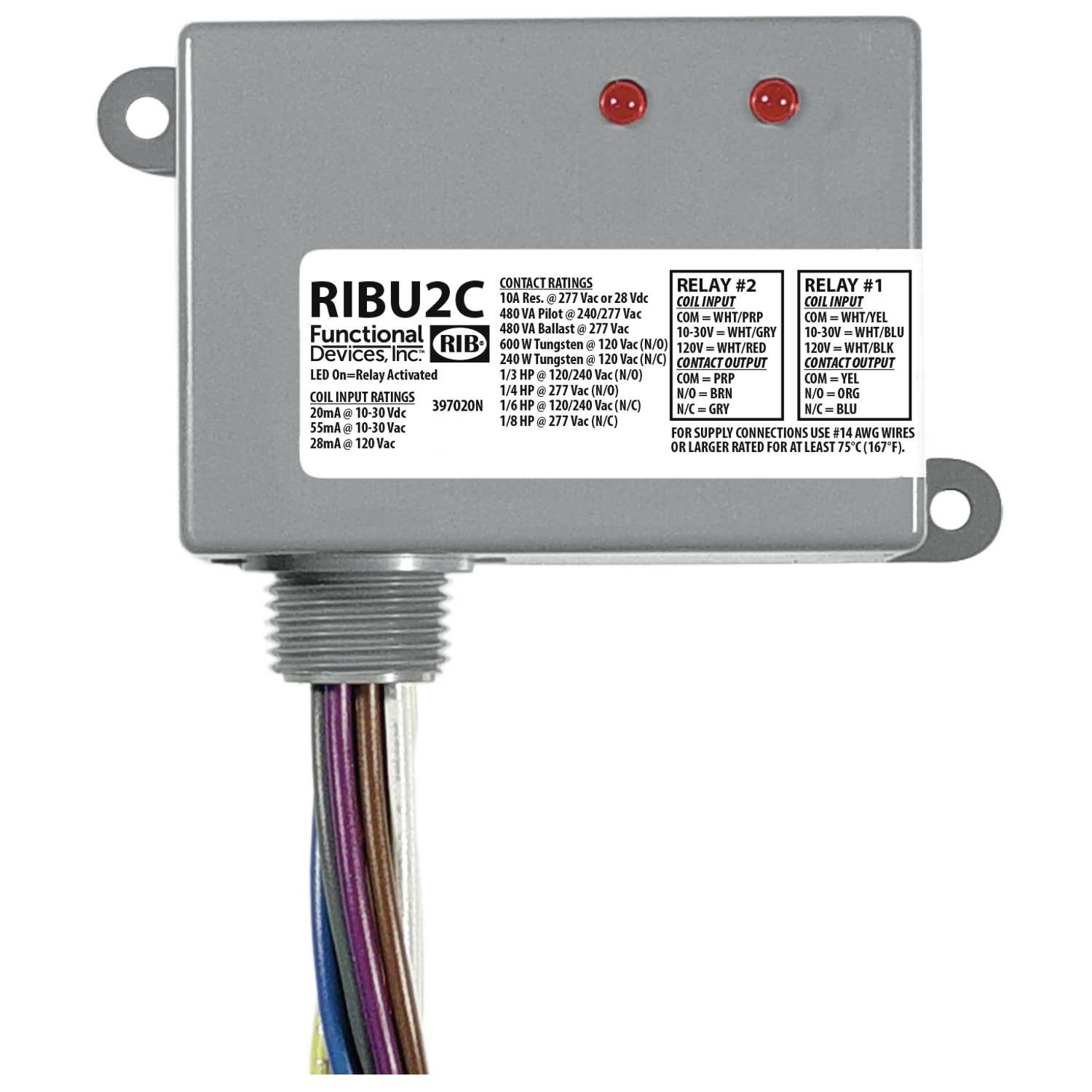 Functional Devices RIBU2C Enclosed Pilot Relay, 10 Amp 2 Spdt with 10-30 Vac/Dc/120 Vac Coil
