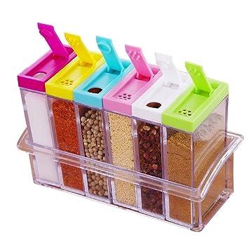 Küche Große Gewürzdosen Würzeflasche Box 6er Set Vorratsdosen Gewürze  Aufbewahrung