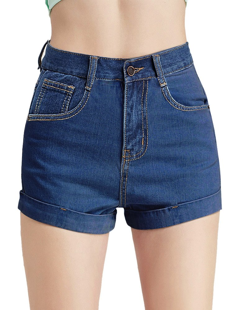 CUNLIN Women High Waisted Denim Shorts Fashion Summer Sexy Vintage Distressed Folded Hem Jeans Shorts Blue 25
