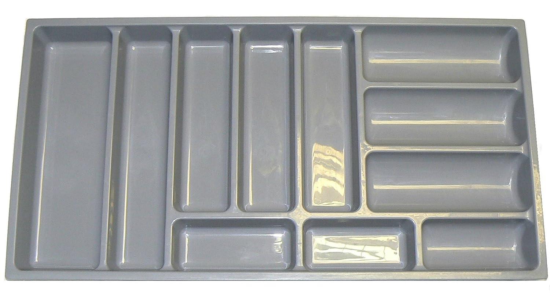Vassoio per posate di alta qualità adatto alla maggior parte dei cassetti da 90 cm. Resistente plastica grigia, larghezza 814mm x profondità 422mm x altezza 57mm GT1/900 Blum