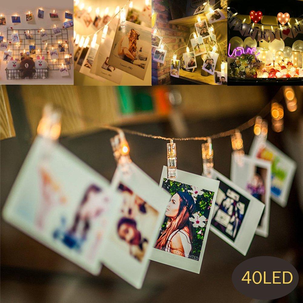 MMTX 40 LED Foto Clips String Illuminazione Spina a pile per luci natalizie Remote Mollette Peg Stringa Picture Illuminazione per camera da letto appendere Foto, opere d'arte, note e cartoline, Ideale per Natale, Matrimonio, Compleanno,Fata decorazioni per