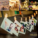 MMTX 40 LED Photo Clips String Lights Battery Operated Plug for Christmas Lights Remote Peg Picture Light for Bedroom Hanging Photos,Artworks,Notes and Cards,Best for Christmas,Wedding, Party Decorative Fairy Lighting