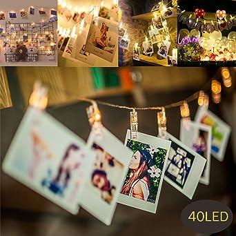Stecker Für Weihnachtsbeleuchtung.Mmtx 40 Led Foto Clips Lichterketten Batteriebetriebener Stecker Für Weihnachtsbeleuchtung Für Schlafzimmer Hängende Notizen Und Karten Für