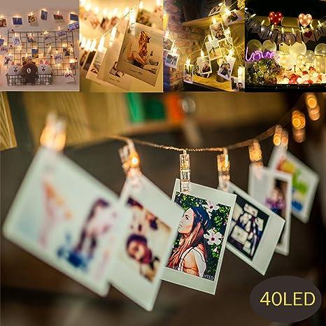 MMTX 40 LED Photo Clips Luces de cadena con pilas Plug de Navidad Peg Imagen de luz para habitaciones Colgando fotos, obras de arte, mejor para ...
