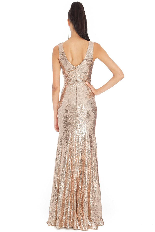 Goddiva Long Sequin Maxi Dress (Womens UK Size 10, Champagne Rose Gold): Amazon.co.uk: Clothing
