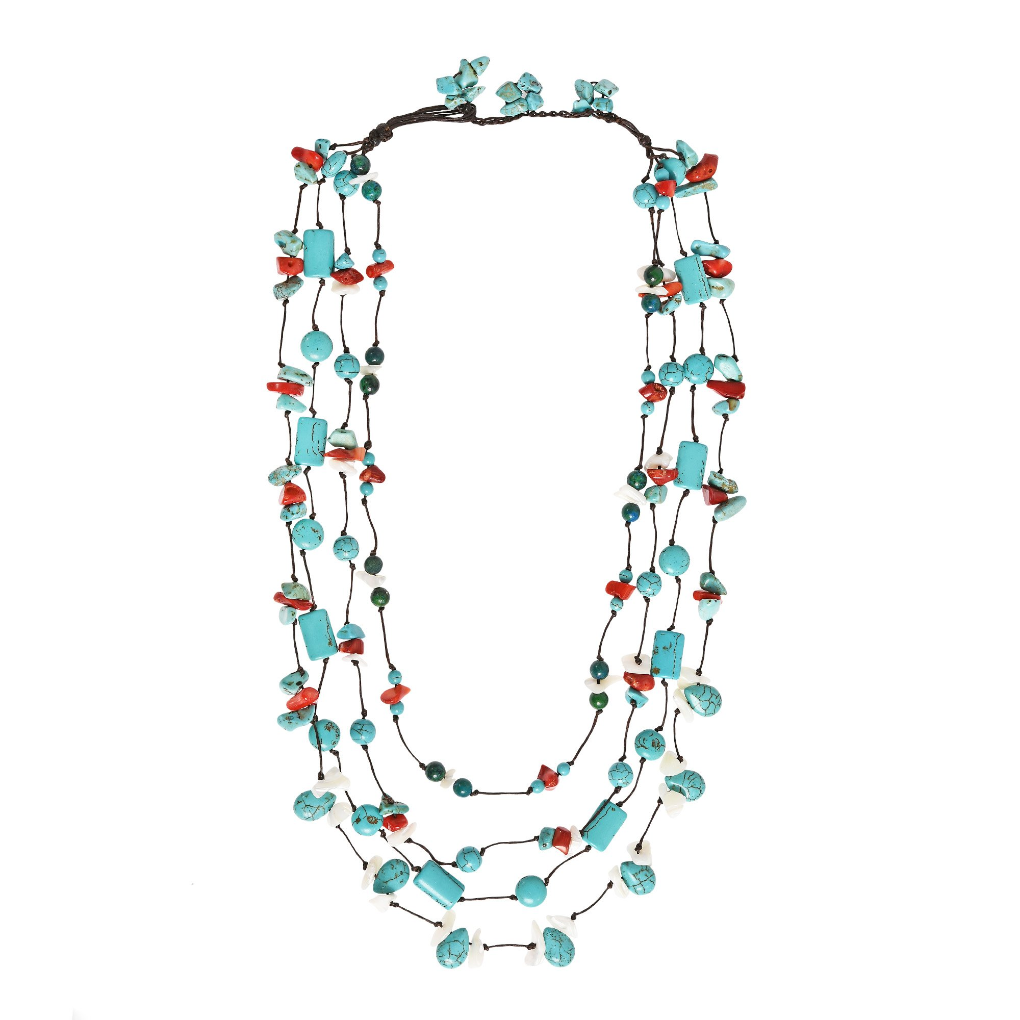 AeraVida Chic Multicolor Stone Handmade Layered Necklace