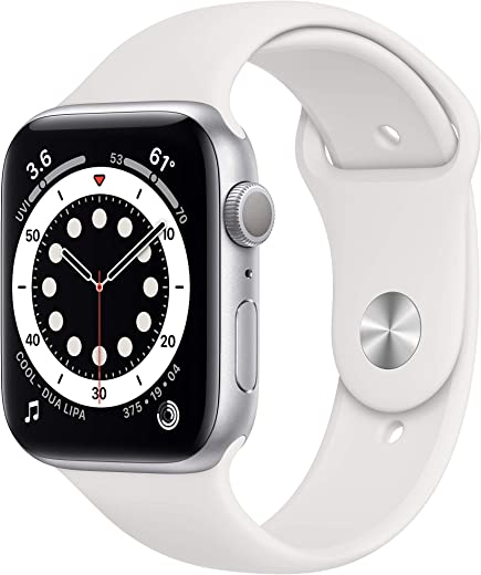 Apple Watch Series 6 (GPS) 44mm Silver Aluminum Case with White Sport Band – Silver