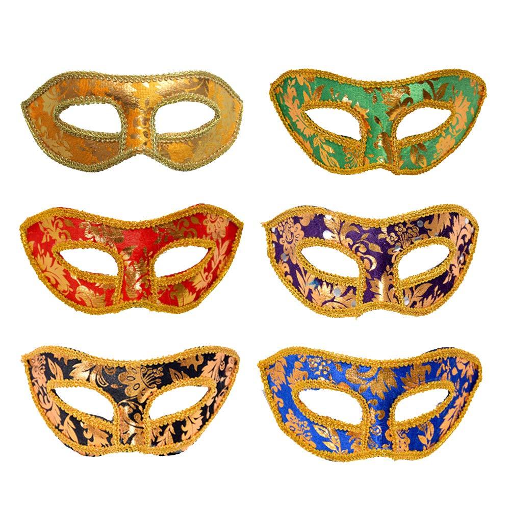 Achort Masquerade Ball Maske für Frauen & Männer, 12 Stück 6 Farben ...