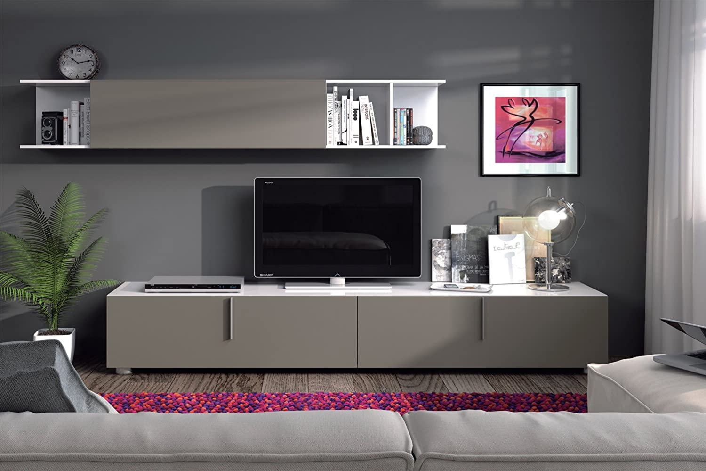habitdesign sbo mueble de comedor con puertas color blanco brillo y basalto dimensiones cm x cm de profundidad amazones hogar