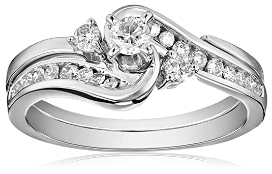 Amazoncom IGI Certified 14k White Gold Interlocking Diamond 1