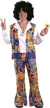 Disfraz de Hippie para adultos (hombre), ropa colorida con flores ...
