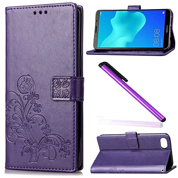EMAXELER Huawei Y5 Prime Case Huawei Y5 2018 Cover Embossing Colour Stylish  Wallet Protect Kickstand Credit Cards Slot Cash Pockets PU Leather Flip