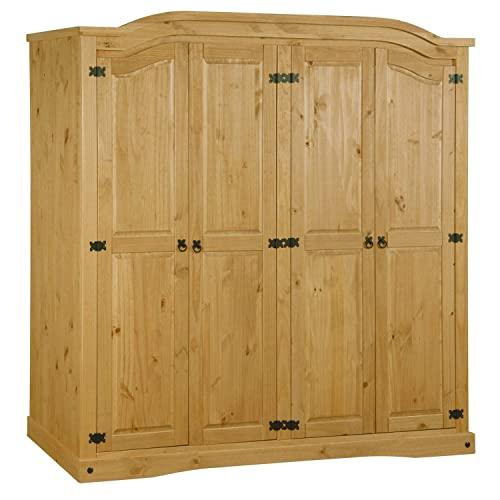 Corona Mexican 4 Door Wardrobe in Solid Pine