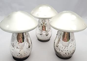 Bauernsilber Weihnachtsdeko.3 Fliegenpilze Pilze Glas Silber Bauernsilber 12x9cm Home Dekoration