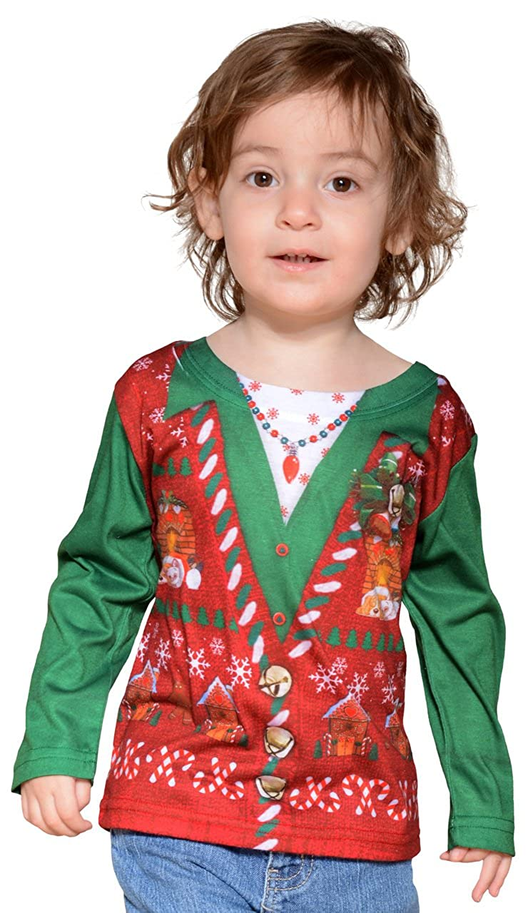 Amazon.com: Faux Real Kid\'s Ugly Xmas Vest Tee, White, 3T US: Clothing