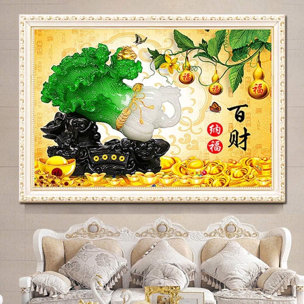 Diamond Painting Living Room Cross Stitch Baicai Nafu Cabbage Lucky Fort Treasure Point Tile Show 30X40Cm
