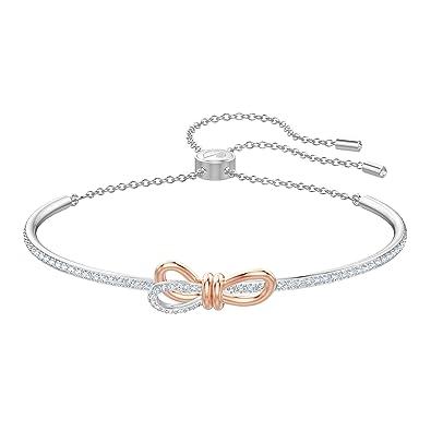 Bracelet jonc Swarovski, motif de nœud et combinaison de métaux plaqués