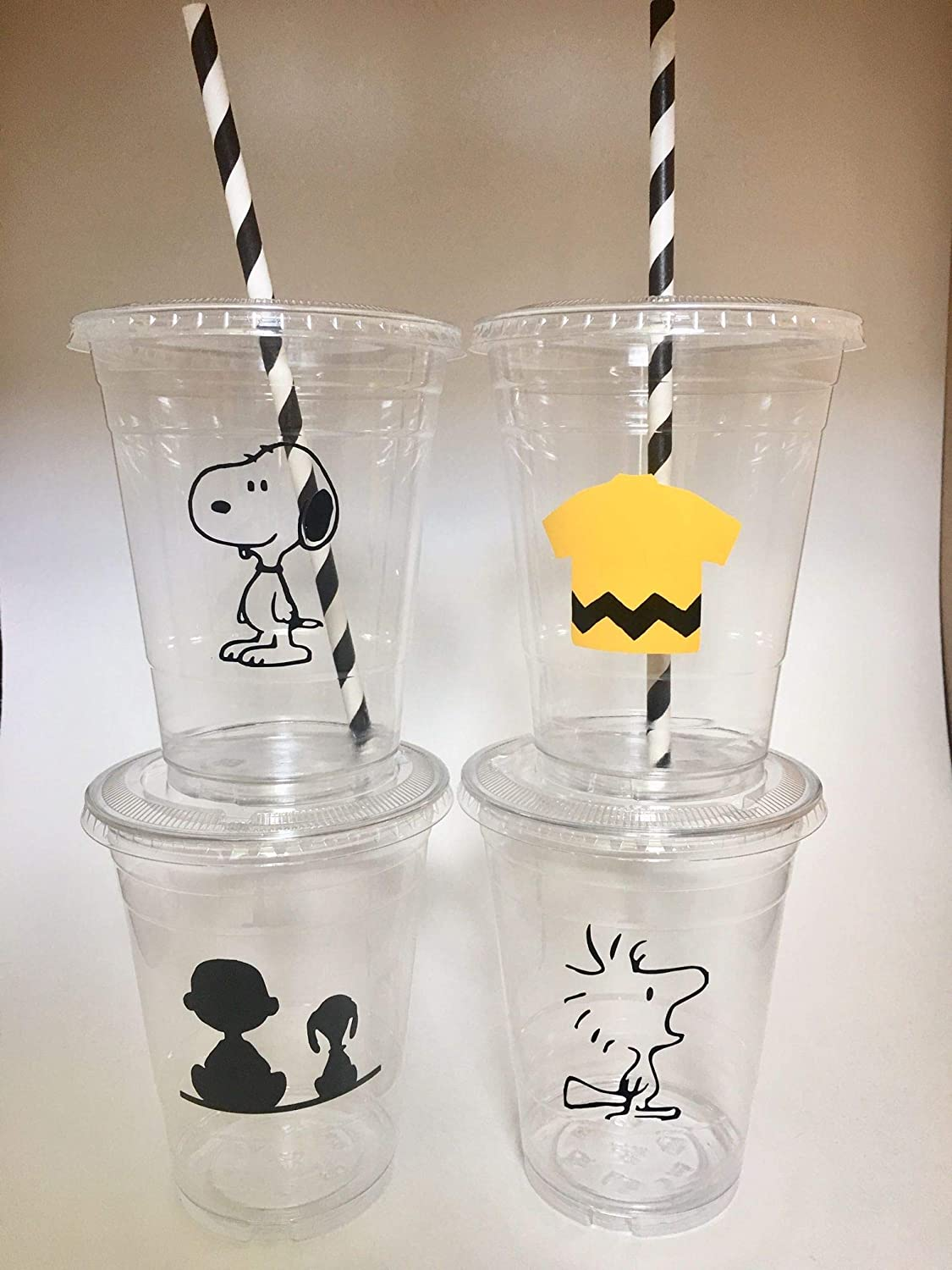 Snoopy Party Cups Disposable Set of 12 With Lids straws