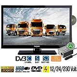 Telefunken L22F275X3 LED Fernseher 22 Zoll 55 cm TV mit DVD DVB-S /S2, DVB-T, DVB-C, USB, Energieeffizienzklasse A, 230V / 12V / 24V