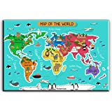 Amazon bold bloc design animal kids nursery world maps flags world map canvas wall art for kids room typical animals on continent map of the gumiabroncs Choice Image