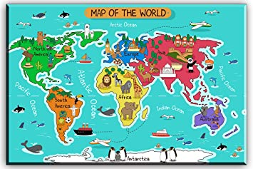 World Map Canvas Wall Art for Kids Room, Typical Animals on Continent Map  of the World Canvas Prints for Children Education, Ready to Hang, 1\