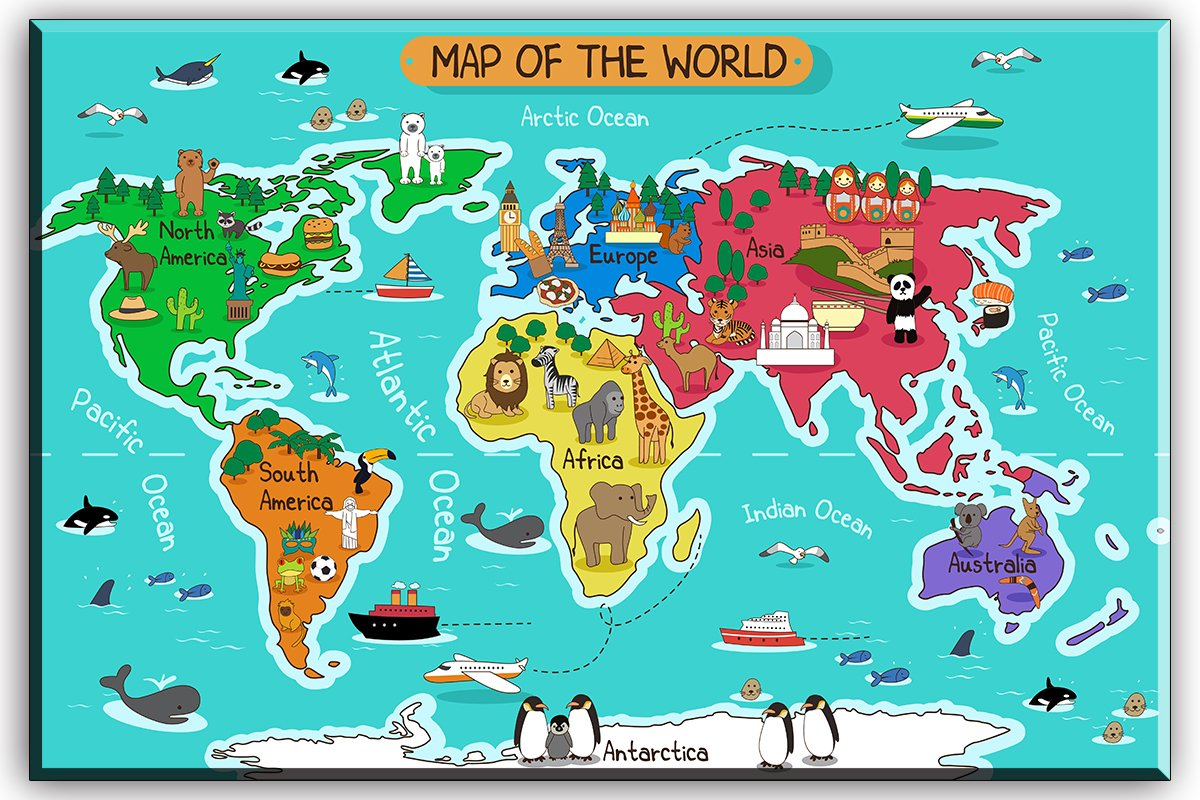 World Map Canvas Wall Art for Kids Room, Typical Animals on Continent Map of the World Canvas Prints for Children Education, Ready to Hang, 1'' Deep, Waterproof