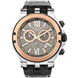 Mulco Nefesh Iconic Quartz Swiss Chronograph Movement Unisex Watch | Sundial Display with Rose Gold and Rose Gold Accents | Leather Watch Band | Water Resistant Stainless Steel Watch