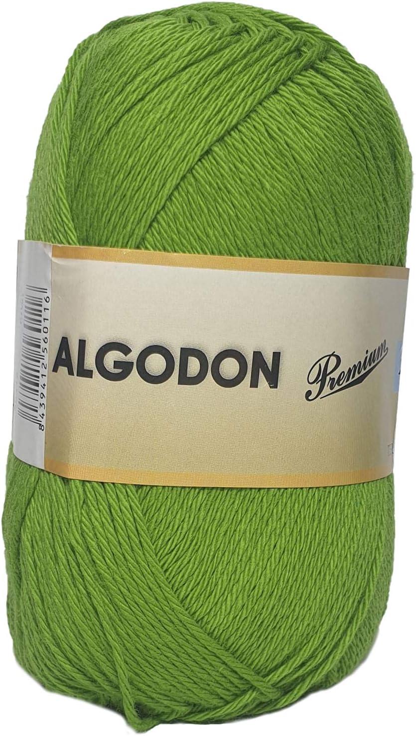 Hilo Ovillo de Algodón Premium 100% Algodón perfecto para DIY y tejer a mano (Color Kiwi 100 g, aprox. 220 metros): Amazon.es: Hogar
