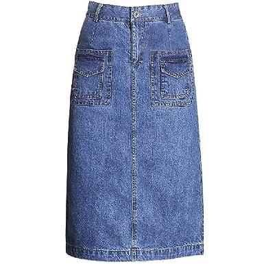 Jeans De Verano Cintura Larga Falda Falda Único Señoras Jeans ...