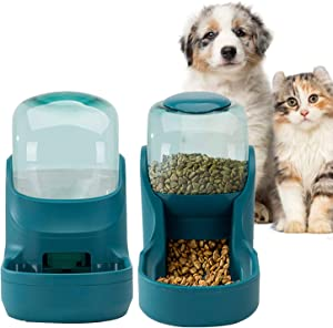 Pets Feeder Set Dog Feeder Cats Feeder with Water Dispenser Automatic Gravity Big Capacity Pets Feeder Auto for Small Medium Big Cats Dogs (Blue)