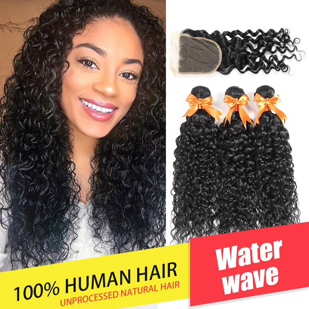 Brazilian Water Wave 3 Bundles with Closure Unprocessed Virgin Human Hair Bundles with Lace Closure 4x4 Free Part Can Be Dyed (18 20 22 with 18)