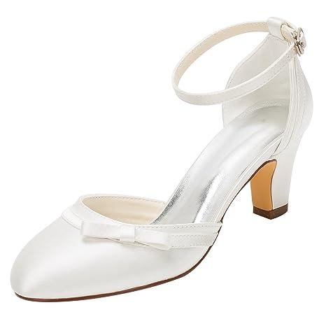 Scarpe Sposa Fiocco.Scarpe Da Donna Satin Spring Summer Comfort Chunky Heel Ballerina