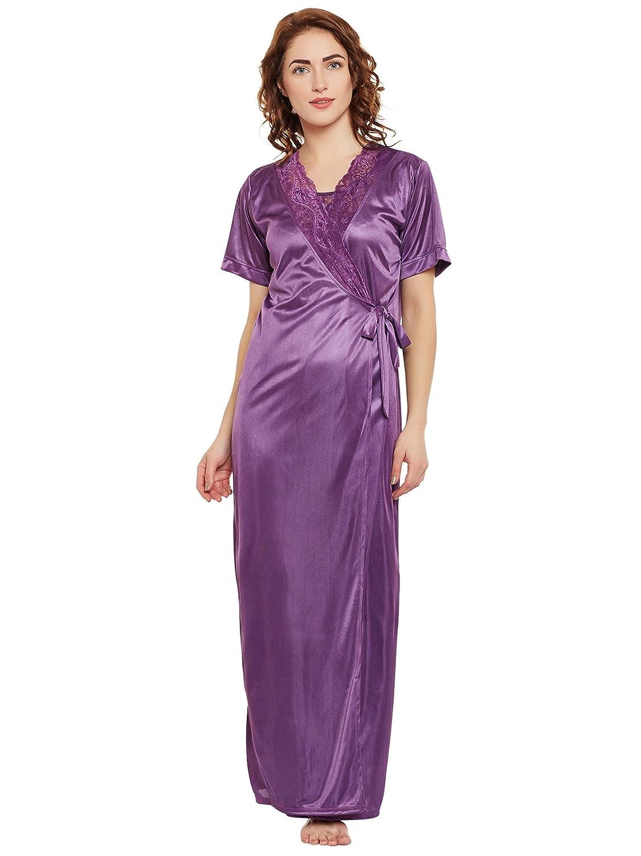 64db73b503 Clovia Women s 2 Pcs Satin Nightwear in Purple - Robe
