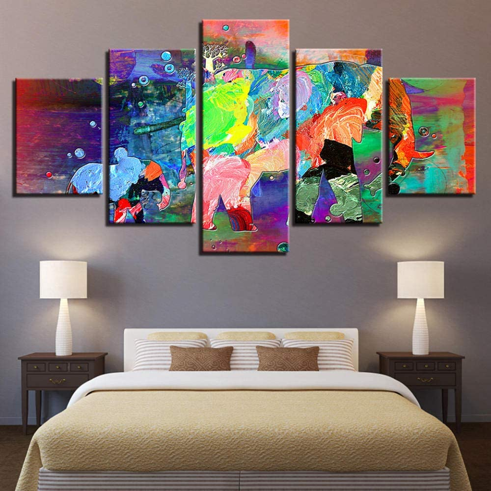 Djdasn Canvas Art 5 Piece Hd Pictures Classic Sunset Colorful Cartoon Sports Carcar Wall Art Canvas Paintings For Home Decor Poster Wall Pictures For Living Room bar Caf/é estudiar Gimnasio Fondo de l