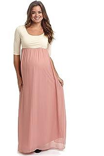 4da24b2e61d PinkBlush Maternity Blush Pink Chiffon Colorblock Maternity Maxi Dress